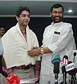 Ram Vilas Paswan felicitating and presented a cheque of Rs. 15 lakh to the first winner of an individual Gold Medal for India at the Beijing Olympic Games and International Shooting Ace, Shri Abhinav Bindra, in New Delhi.jpg