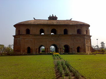 Rang Ghar, built by Pramatta Singha in Ahom Kingdom's capital Rongpur, is one of the earliest pavilions of outdoor stadia in the Indian subcontinent.