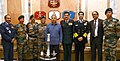 Rao Inderjit Singh in a group photograph with the officers of Assam Regiment who received the Republic Day Trophy for Best Marching Contingent, in New Delhi.jpg