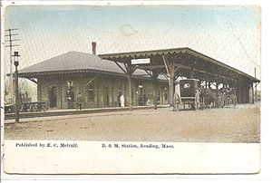Reading (MBTA station) - Reading station on an early postcard