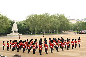 Guards Memorial - The memorial stands to the west side of Horse Guards Parade