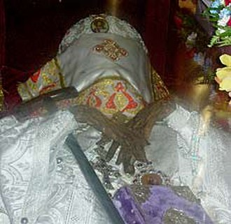 Glorification - The incorrupt Relics of St. John (Maximovitch) at the time of his glorification in San Francisco in 1994