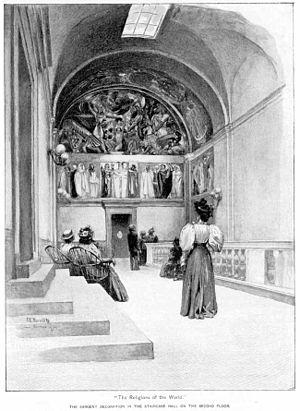 "Ernest Peixotto - Peixotto's illustration of John Singer Sargent's mural ""Triumph of Religion"", Boston Public Library, 1896."