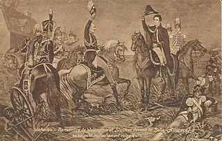 Rencontre de Blücher (à g.) et Wellington devant Belle-Alliance. Vue d'artiste.