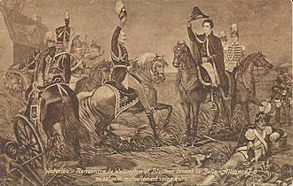 La Belle Alliance - Victorious Coalition Field Marshals Blücher and Wellington meeting close to La Belle Alliance.