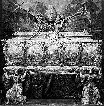 Embossed silver sarcophagus of Saint Stanislaus in the Wawel Cathedral was created in main centers of the 17th century European silversmithery - Augsburg and Gdansk Rennen Silver sarcophagus of Saint Stanislaus.jpg