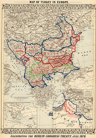 Bulgarian Millet - Map of European Turkey after the Treaty of Berlin. Macedonia and Adrianople areas, which were given back from Bulgaria to the Ottomans are shown with green frontiers.