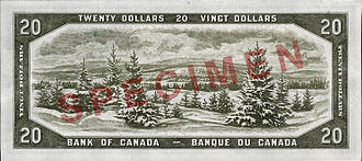 Laurentian Upland - A scene of the Laurentians based on a photograph from the Provincial Publicity Bureau of Quebec engraved by William Ford was on the $20 banknote of the 1954 Series.