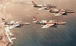 Quartier Mangin - Republic RF-84F-25-RE Thunderflashes of the 66th Tactical Reconnaissance Wing flying over the coast of Morocco near Nouasseur Air Base - 1958. Identified serials are 51-17011, 52-7318, 52-7343 and 52-7295. All of these aircraft were sold to the German Air Force. 17011 was later sold to the Greek Air Force and 7381 to the Italian Air Force. 17011 is now on permanent display at the Hellenic AF Museum, Dekelia AB, Athens.