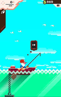"Man with white beard and red hat sitting in brown boat one-third up the screen holding fishing rod without the line in the water, an anchor hangs off the end of the boat, into the green sea, and off the screen, the sky above is blue with five tiny, white birds, and various indicators atop the image: one for gas with the image of a pump, one for depth in meters, one for money, and a ""pause"" symbol"
