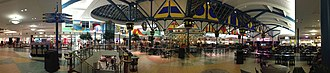 RiverTown Crossings - Panoramic photo of the RiverTown Crossings Mall food court in 2012, with the carousel seen in the center.
