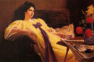 Retrato de senhora, désabille amarelo, laço roxo