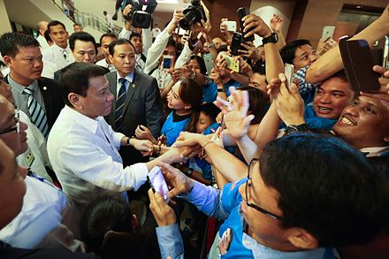 Duterte is greeted by overseas Filipinos during his official visit to Vietnam, September 2016. Rodrigo Duterte is greeted by overseas Filipinos during his official visit to Vietnam on September 28 (2).jpg
