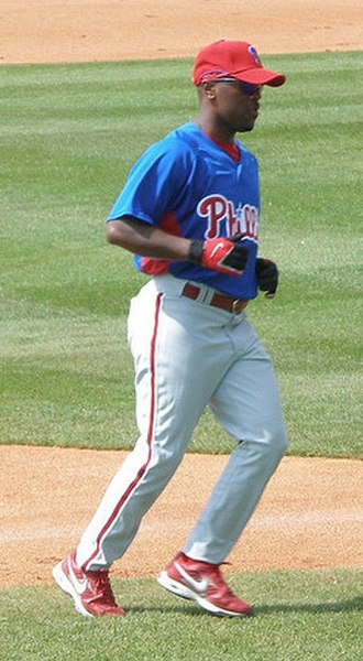 Jimmy Rollins - Rollins before a split-squad game against Tampa Bay during 2007 spring training