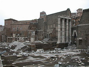 Imperial fora - Forum of Augustus with the temple of Mars Ultor
