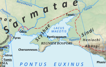 "The territory of the Scythae Basilaei (""Royal Scyths"") along the north shore of the Black Sea around 125 AD. Roman Empire 125 (cropped).png"