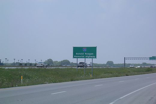 On February 16, 2006, I-20 in Arlington was dedicated as 'Ronald Reagan Memorial Highway' (signs are visible at mile markers 447 and 452) RonaldReaganMemorialHwy ArlingtonTX.jpg