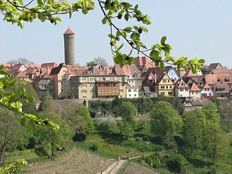 Rothenburg ob der Tauber - Southern view of Rothenburg from the castle garden