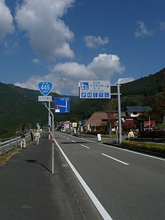 Japan National Route 445 road in Kumamoto prefecture, Japan