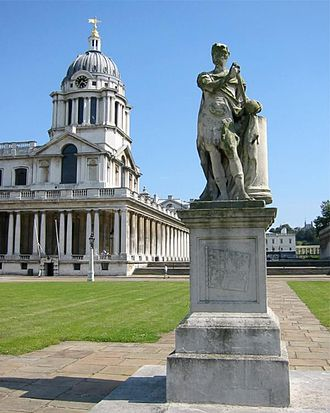 Old Royal Naval College - John Michael Rysbrack's George II (1735) in the Grand Square of the Greenwich Hospital
