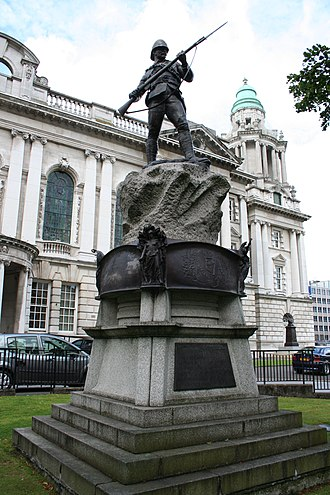 Royal Ulster Rifles - Monument to the men of the Royal Irish Rifles who died in the Second Boer War in the grounds of Belfast City Hall