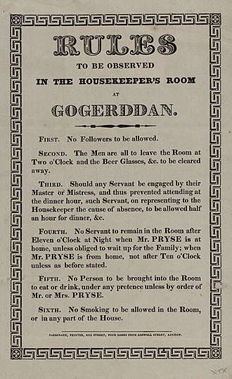 Housekeeper (domestic worker) - Rules to be observed by the Housekeeper of a country house in Victorian Britain