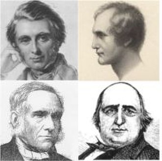 Octavia Hill - Early influences on Octavia Hill – top: John Ruskin and Thomas Southwood Smith; below: F.D. Maurice and Henry Mayhew