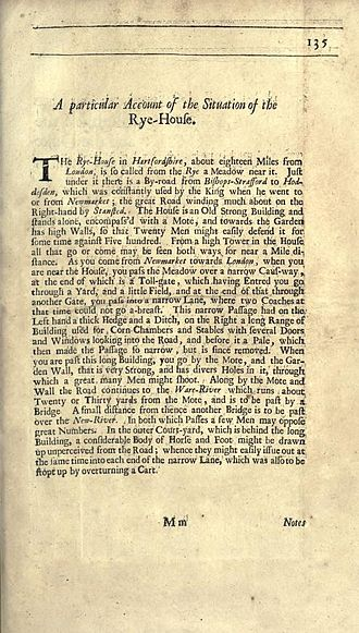 Rye House Plot - Account of Rye House, from the official history of the Plot by Thomas Sprat (2nd edition, 1685).