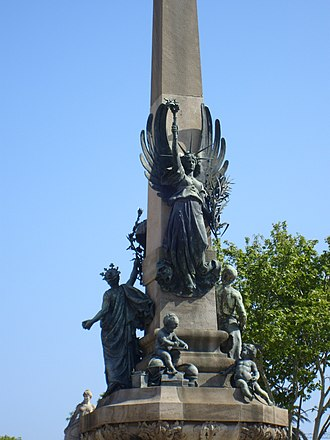 Passeig de Lluís Companys, Barcelona - Rius i Taulet monument as seen from behind