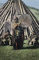 Altay shaman in Siberia SB - Altay shaman with drum.jpg