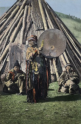 Shamanism - A female shaman, probably Khakas, Russian Empire, 1908