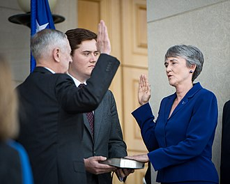 Heather Wilson - Secretary Wilson being sworn in by Secretary of Defense James Mattis