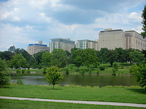 Central West End, St. Louis - Skyline of the Central West end as seen from Forest Park.  The building on the far left is an apartment building and the buildings in center are part of the Barnes-Jewish Hospital complex.