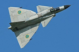 Canard (aeronautics) - A Saab 37 Viggen, the first modern canard aircraft to go into production.