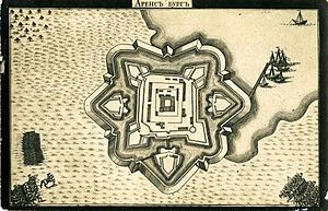 Kuressaare Castle - Plan of Kuressaare castle and ramparts in 1710.
