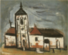 SaekiYūzō-1928-Church in Villiers-sur-Morin.png