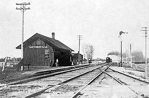 Saffordville, Kansas - Atchison, Topeka and Santa Fe Railway depot in Saffordville, circa 1890-1900