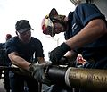 Sailors practice pipe patching aboard USS Carl Vinson. (8599729489).jpg