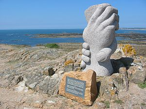 La Corbière - Saint-Malo sculpture commemorating a maritime rescue in 1995
