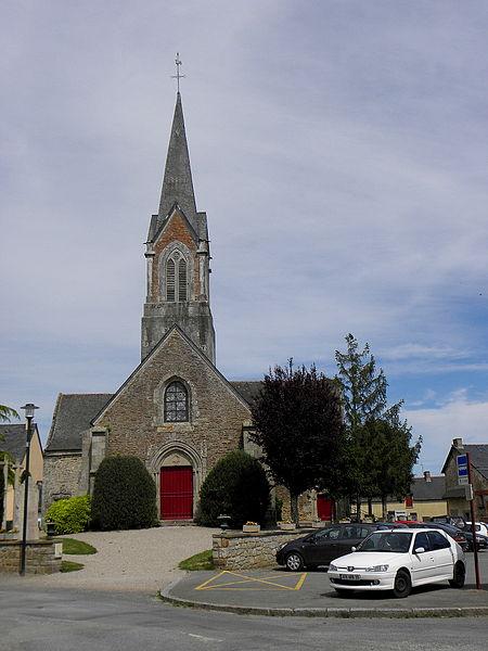 Église Saint-Uniac, commune de Saint-Uniac (35). Façade occidentale.
