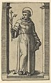 Saint Anthony of Padua standing, lillies in his raised right hand, a book in his left, from the series 'Piccoli Santi' (Small Saints) MET DP853503.jpg