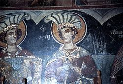 Saint Nicolas of Eupraxia Church in Kastoria Saint George and Saint Demtrius Fresco, 1485 - 1486.jpg