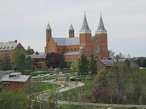 Saint Vincent College - View from the entrance, with Basilica and some academic buildings.