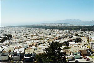 "Sunset District, San Francisco - View of the ""Inner Sunset District"" facing Golden Gate Park"