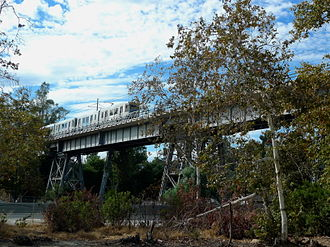 Santa Fe Arroyo Seco Railroad Bridge - The bridge with a Gold Line train.