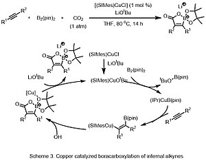 Carbonation - Scheme 3 Copper catalysed boracarboxylation of internal alkynes