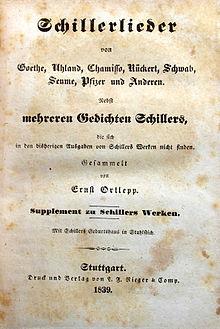 Schillerlieder, gesammelt von Ernst Ortlepp, 1839 (Quelle: Wikimedia)