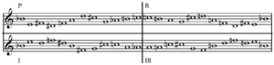 Variations for Orchestra (Schoenberg) - Image: Schoenberg Variations for Orchestra op. 31 tone row mirror forms