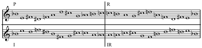 """Mirror forms"", P, R, I, and RI, of a tone row (from Arnold Schoenberg's Variations for Orchestra Op. 31 Play (help*info) ): ""Called mirror forms because...they are identical."". Schoenberg - Variations for Orchestra op. 31 tone row mirror forms.png"