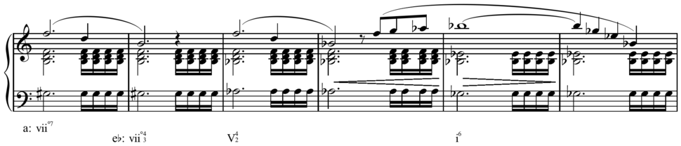 Schubert - op. 29, D.804, I, mm.144-49 enharmonic modulation